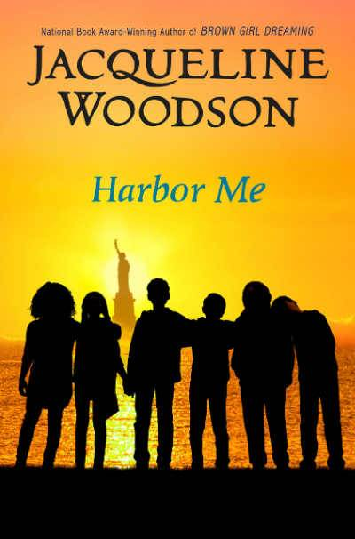 Harbor Me book cover showing teenagers against backdrop of the statue of liberty