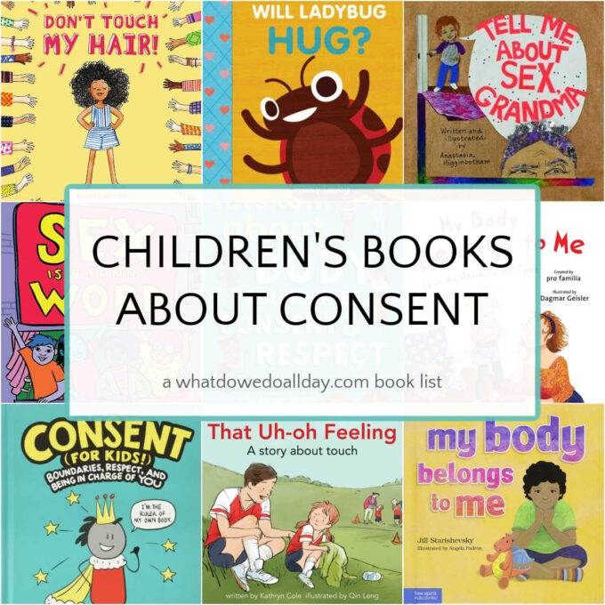 Collage of children's books about consent showing 9 different book covers and text overlay