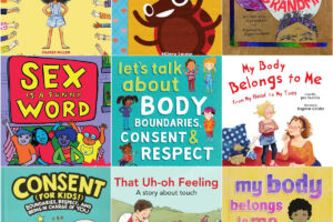 collage of children's picture books about consent