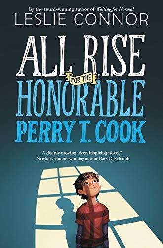 All Rise for the Honorable Perry T. Cook book cover, boy looking upwards standing in shadow of barred window