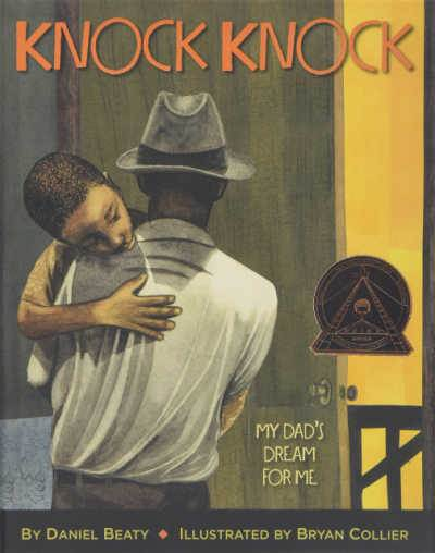 Knock Knock book cover showing father carrying son
