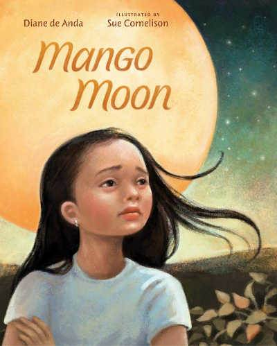 Mango Moon book cover showing sad girl against background of moon
