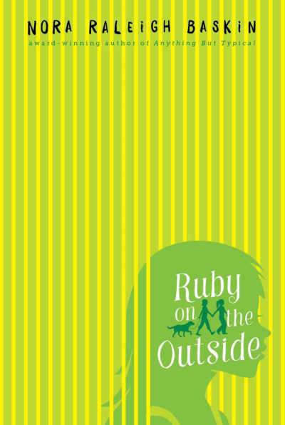 Green striped book cover for Ruby on the Outside with green girl head silhouette