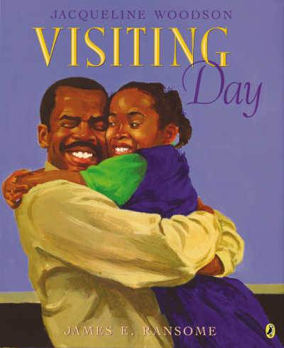 Visiting Day picture book cover showing girl and father hugging