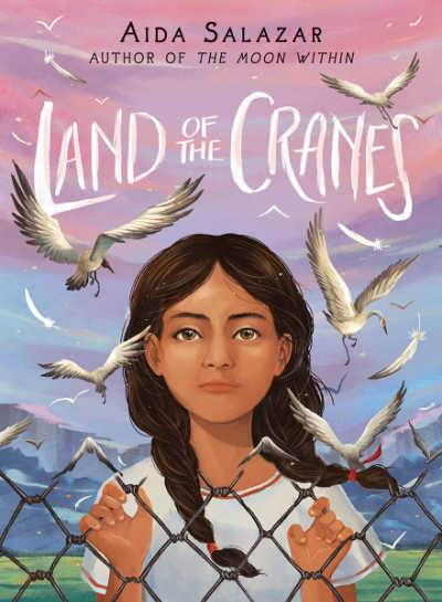 Land of the Cranes book cover showing girl with braids clinging to fence