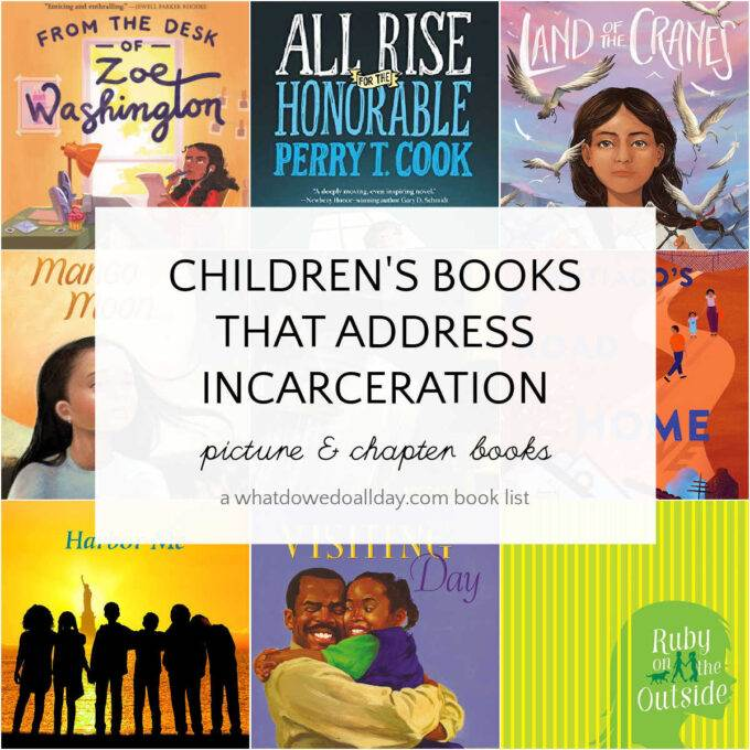 collage of children's books about incarceration