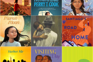 collage of book covers of kids books about incarceration and detention