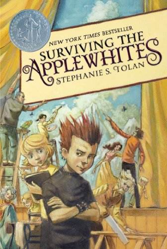 Surviving the Applewhites book cover showing spike haired teen on with family working on stage set in background