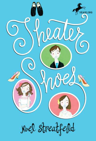Theater Shoes book cover, blue background with three framed children and a pair of dance shoes