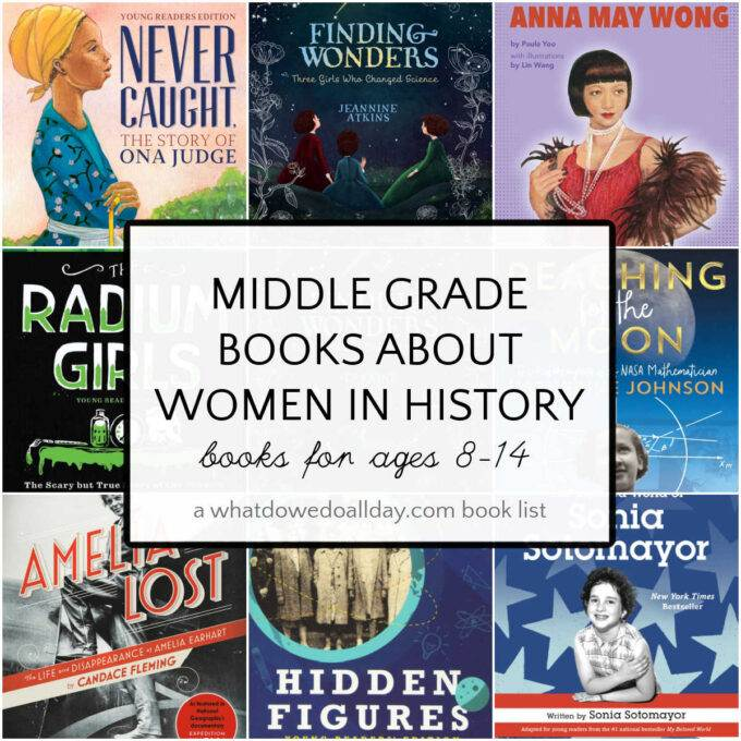 collage of books for women's history month for ages 8 and up