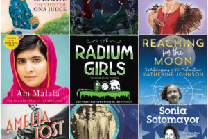 collage of middle grade books about women's history