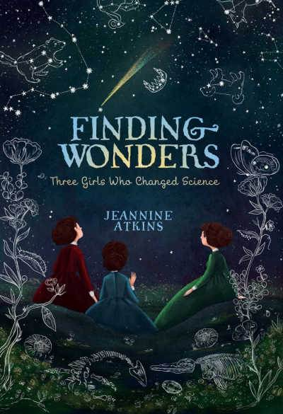 Finding Wonders book cover with three girls looking at starry sky