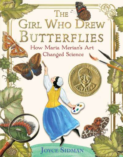 The Girl Who Drew Butterflies book cover showing girl reading up to draw a flying butterfly
