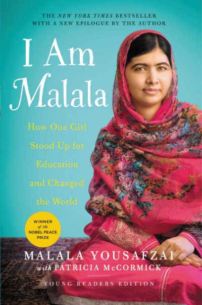 I Am Malala book cover showing girl in pink hijab against blue background