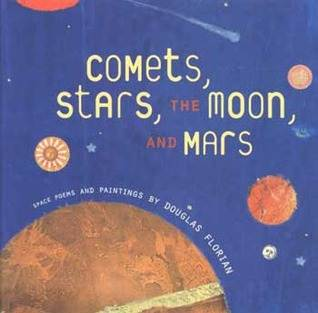 Comets stars the moon and mars space poetry book cover showing illustration of solar system