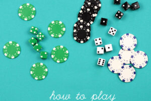 Play Mafia dice with 5 green dice and chips 5 black dice and chips and 5 white dice and chips