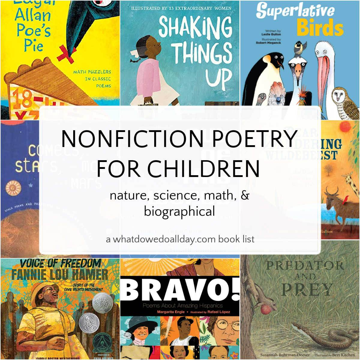 collage of book covers featuring nonfiction poetry for kids