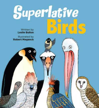 Superlative birds poem book cover with illustrated birds on blue background