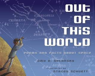 Out of this world poems book cover showing boy looking at night sky through telescope