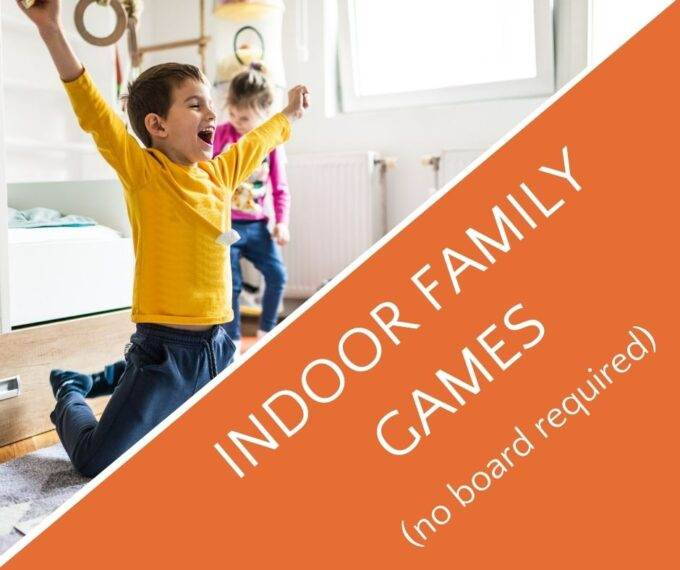 child raising arms in victory for indoor family games