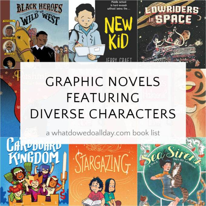 Diverse graphic novels book covers in a collage