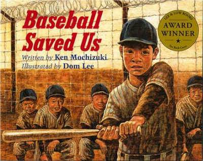 Baseball Saved Us book cover featuring Japanese youth swinging a bat