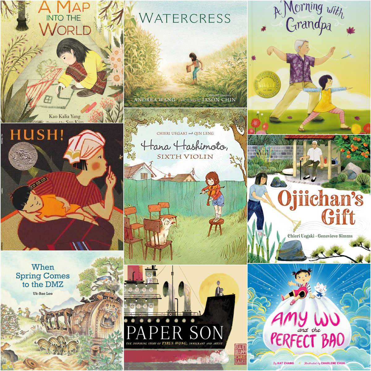 collage of Asian children's books