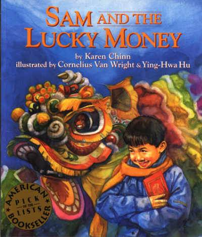 Sam and the Lucky Money with Chinese dragon and happy boy on book cover