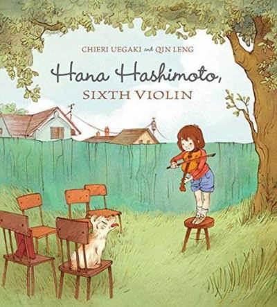 Hana Hashimoto, Sixth Violin  book cover showing girl standing on stool playing violin outdoors