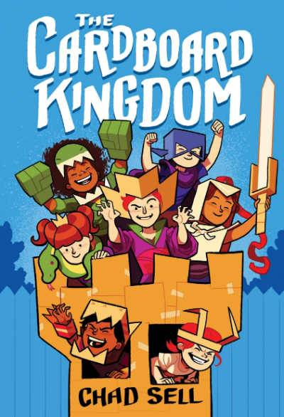 The Cardboard Kingdom grapic novel book cover showing diverse group of kids in cardboard castle