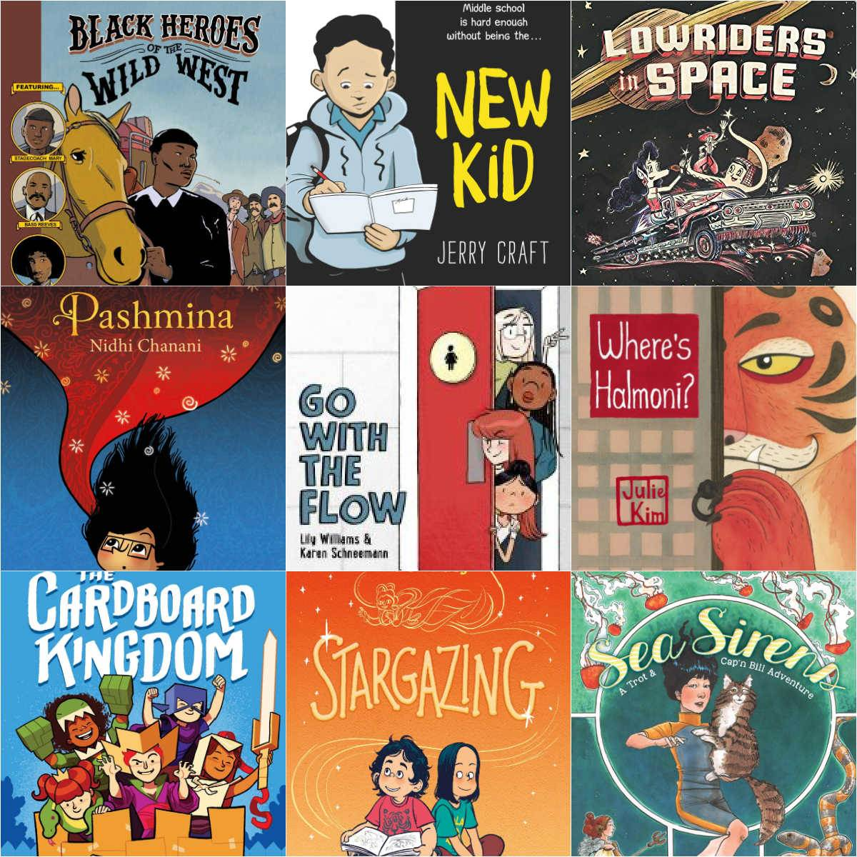 collage of diversity graphic novels for tweens
