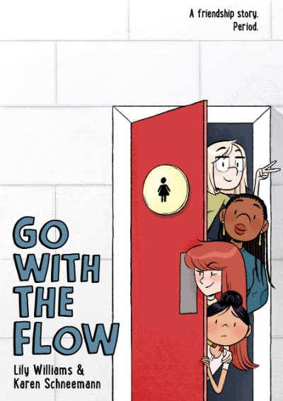 Go With the Flow book cover showing 4 diverse girls behind red bathroom door
