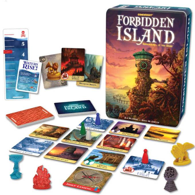 Forbidden Island game board, cards and tokens