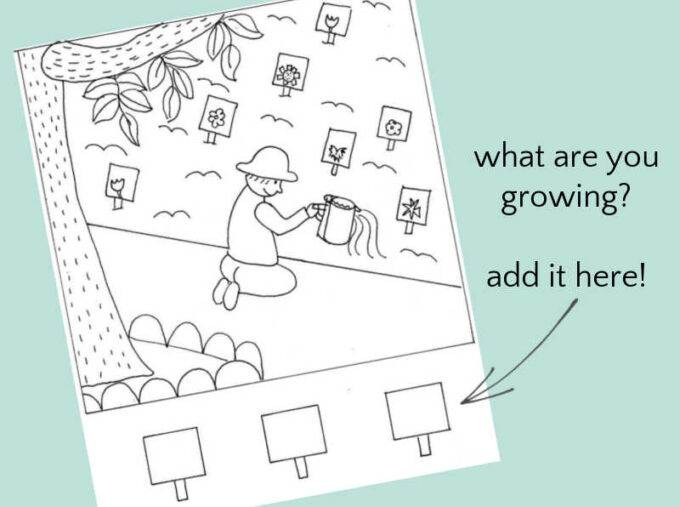 gardening coloring page showing child planting vegetables and flowers