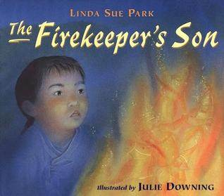 The Firekeeper's Son book with Asian boy looking at flames on cover