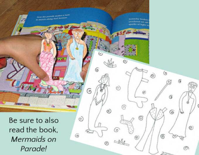 playing with mermaid paper dolls