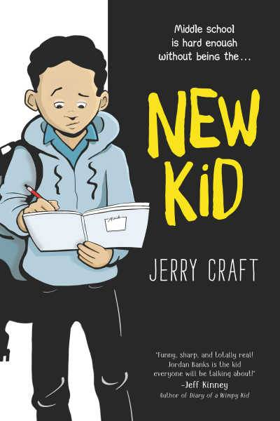 New Kid graphic novel by Jerry Craft book cover featuring Black student reading notebook