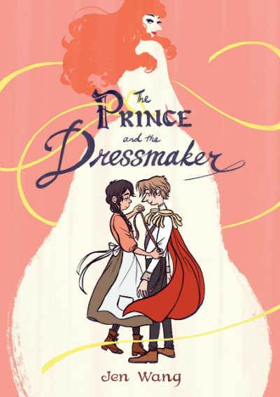 The Prince and the Dressmaker graphic novel book cover showing dressmaker taking prince's measurements