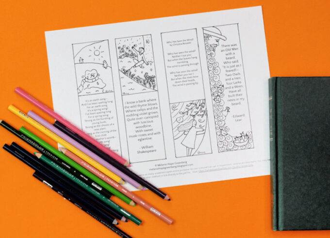 Plain poetry bookmark printable coloring page on orange background