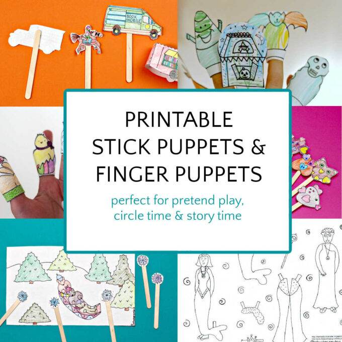 Collage of paper printable stick puppets and finger puppets for kids