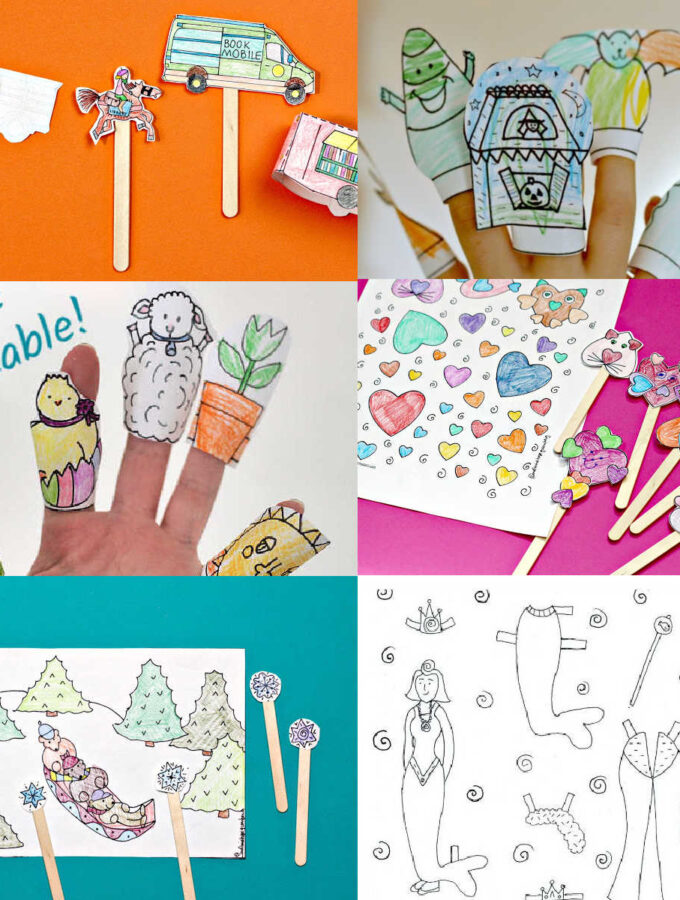 collage of paper puppets for kids