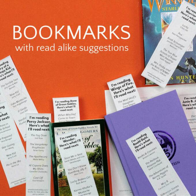 printable read alike bookmarks on orange background with books