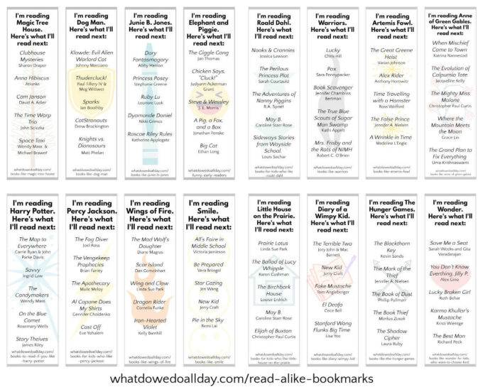 16 printable read alike book recommendation bookmarks with booklists
