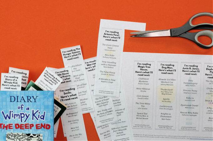 Read alike bookmark printable with scissors and blue book