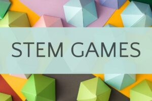 stem games on background of colorful 3d shapes