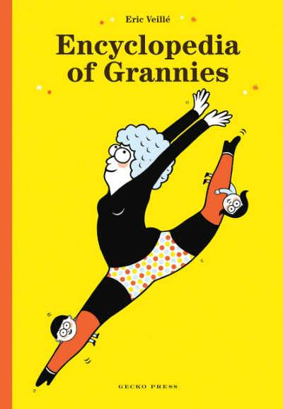 Yellow book cover with leaping grannie