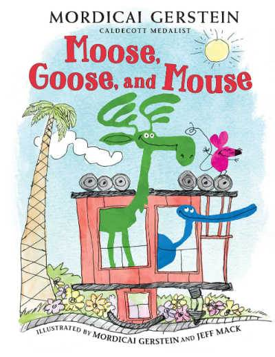 Moose, Goose and Mouse book cover showing funny illustration of animals in a caboose