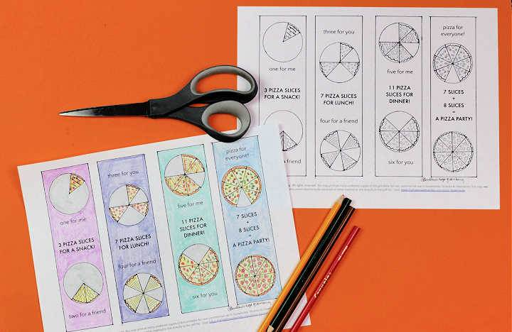 coloring page pizza party bookmarks with pencils and scissors on orange background