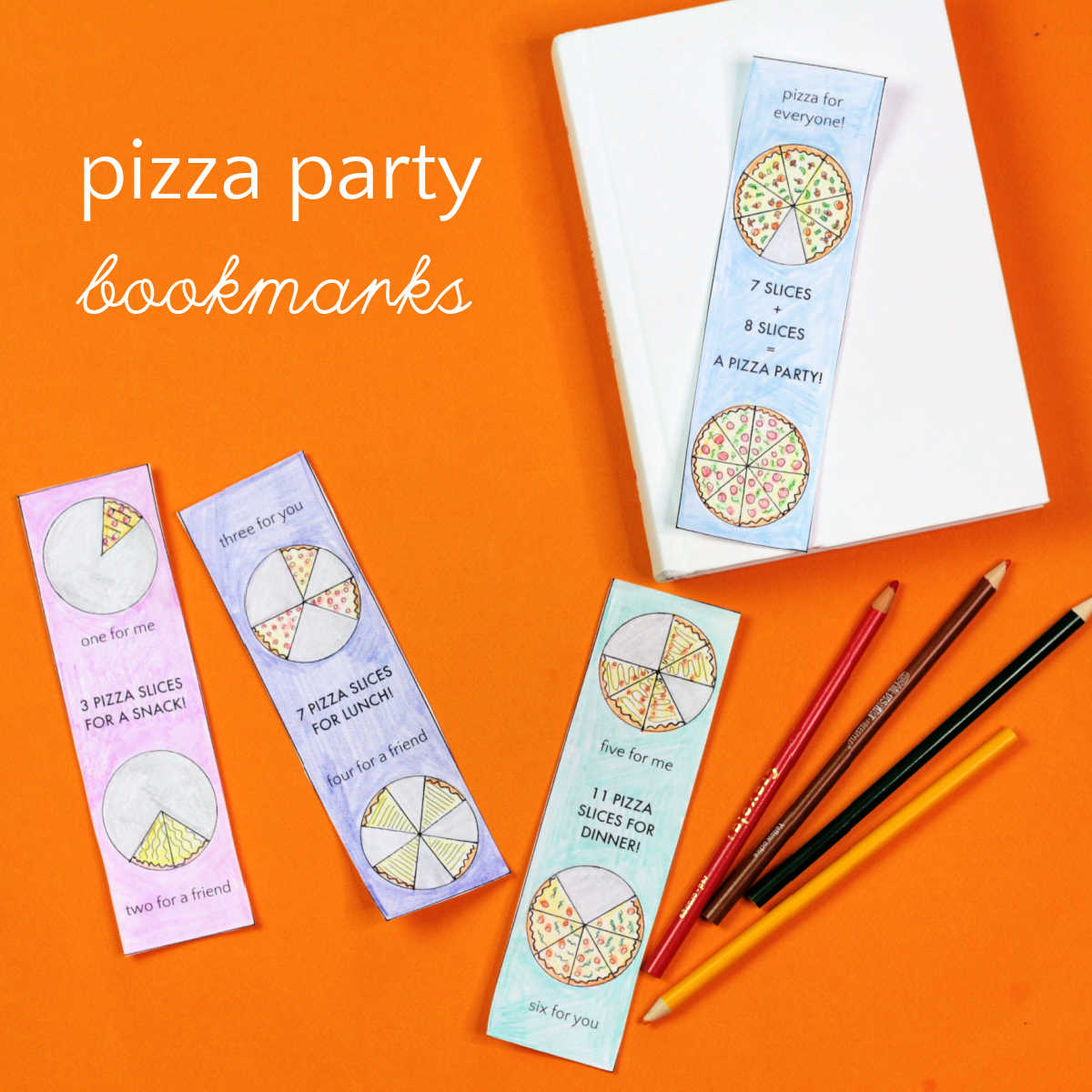 pizza party bookmarks and white book on orange background