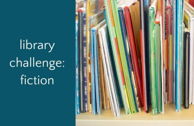 library bookshelf with text library challenge fiction